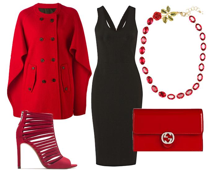 Выбор ELLE: пончо Neil Barrett, туфли Zara, колье Dolce & Gabbana, клатч Gucci