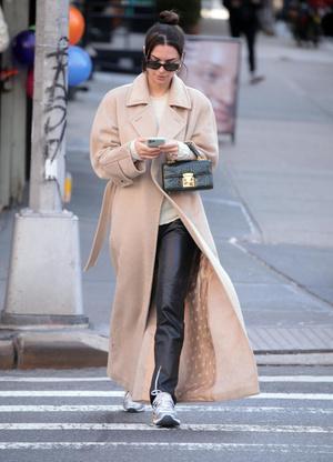 Очень длинное пальто - тренд будущего сезона: пример Эмили Ратаковски (фото 0.1)