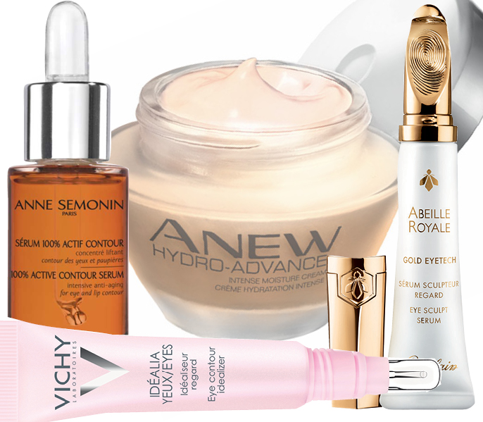 1. Anne Sémonin Active Contour Serum; 2. Avon Anew Hydro-Advance; 3. Guerlain Abeille Royale Gold Eyetech; 4. Vichy Idealia