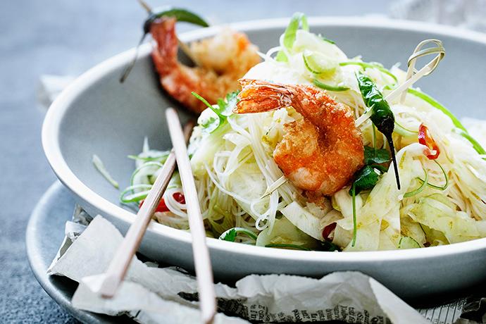 Креветки с хрустящими овощами