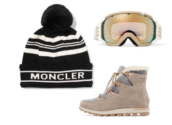 Выбор ELLE: ботинки Sorel, горнолыжные очки Fendi, шапка Moncler
