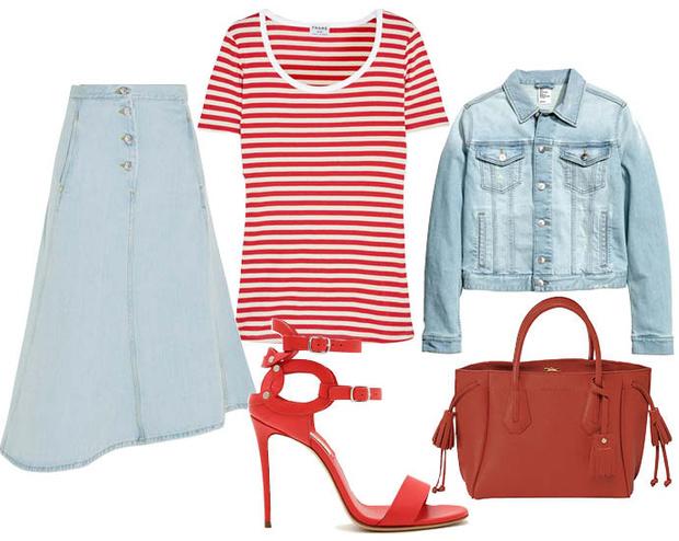 Выбор ELLE: футболка Frame Denim, жакет H&M, босоножки Casadei, сумка Longchamp