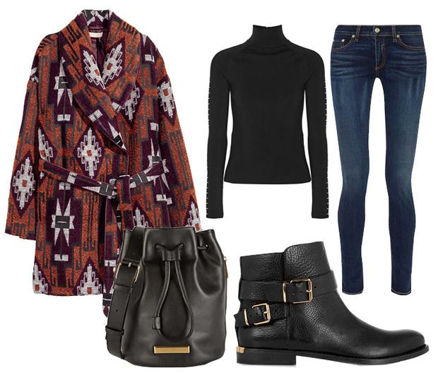 Выбор ELLE: джинсы Rag&Bone, водолазка Balenciaga, ботинки Burberry, сумка-корзина Marc by Marc Jacobs