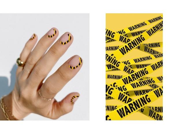 Руки прочь от лица: маникюр с сигнальной лентой (фото 1)