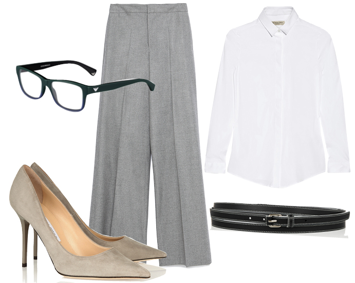 Выбор ELLE: рубашка Burberry, пояс Givenchy, очки Emporio Armani, лодочки Jimmy Choo