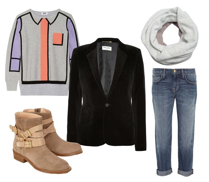 Выбор ELLE: джинсы Current/Elliott, свитер Sonia by Sonia Rykiel, снуд Hayden, ботильоны Rupert Sanderson