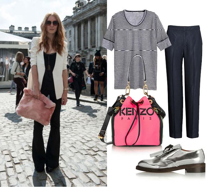 Топ, брюки, все – H&M Premium; ботинки, Marni; сумка, Kenzo