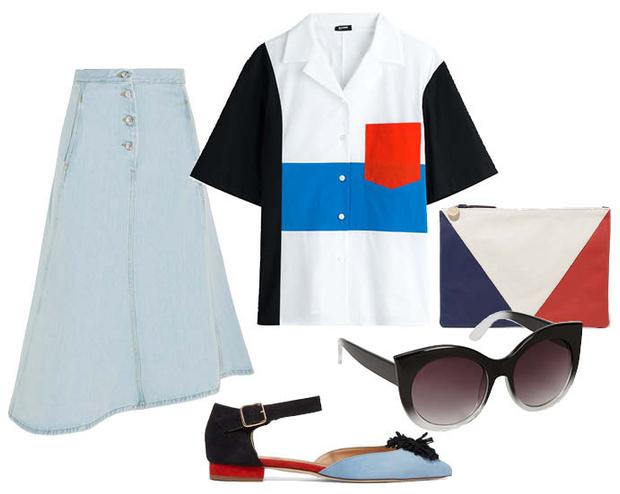 Выбор ELLE: Топ Jil Sander, туфли J Crew, солнцезащитные очки Aldo, клатч Clare V