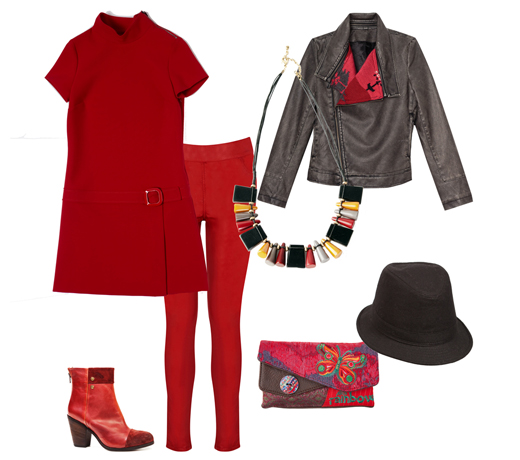 Куртка и клатч Desigual, платье Caractere, легинсы Oasis, ботильоны Miss Sixty, ожерелье Springfield