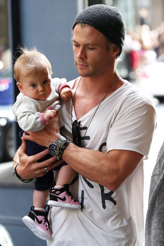 Крис Хемсворт с дочерью Индией
