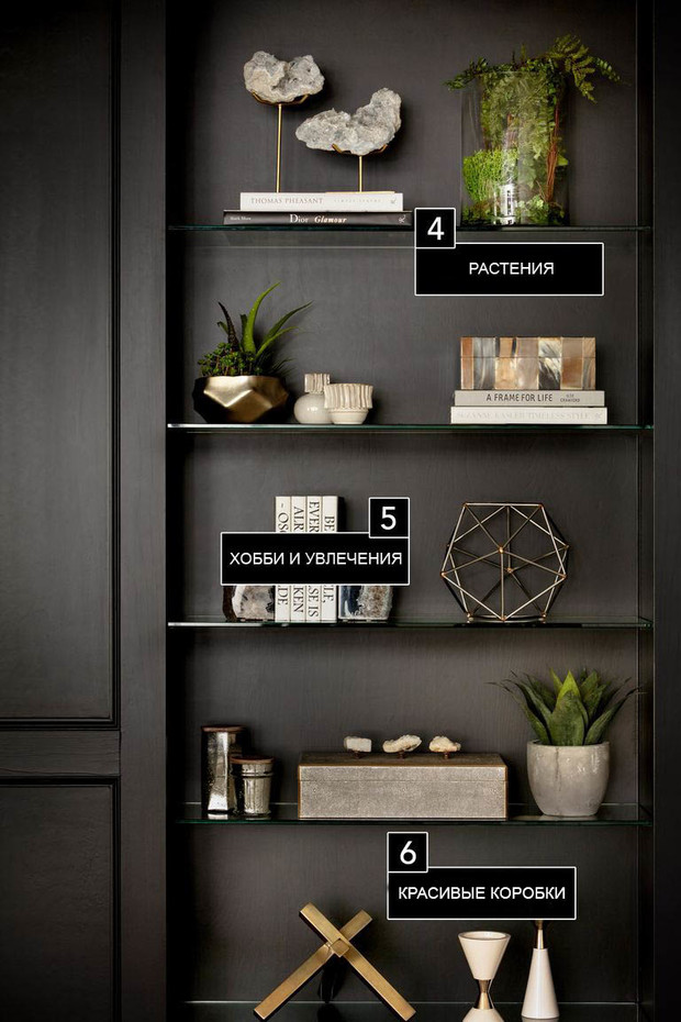 Чем украсить стеллаж в гостиной: шесть идей (фото 15)