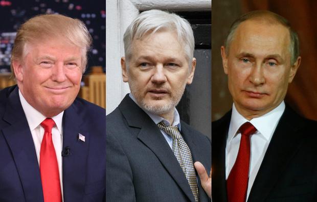 Дональд Трамп, Джулиан Ассанж, Владимир Путин