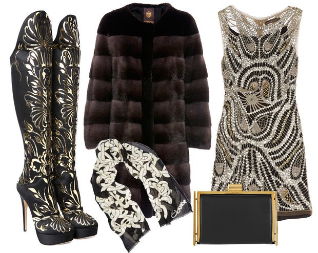 Выбор ELLE: шуба Braschi, платье Kate Moss for TopShop, клатч Nina Ricci, сапоги Charlotte Olympia, платок Diane Von Furstenberg