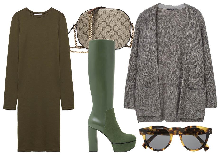 Выбор ELLE: платье Zara, сапоги Casadei, солнцезащитные очки Illesteva, сумка Gucci