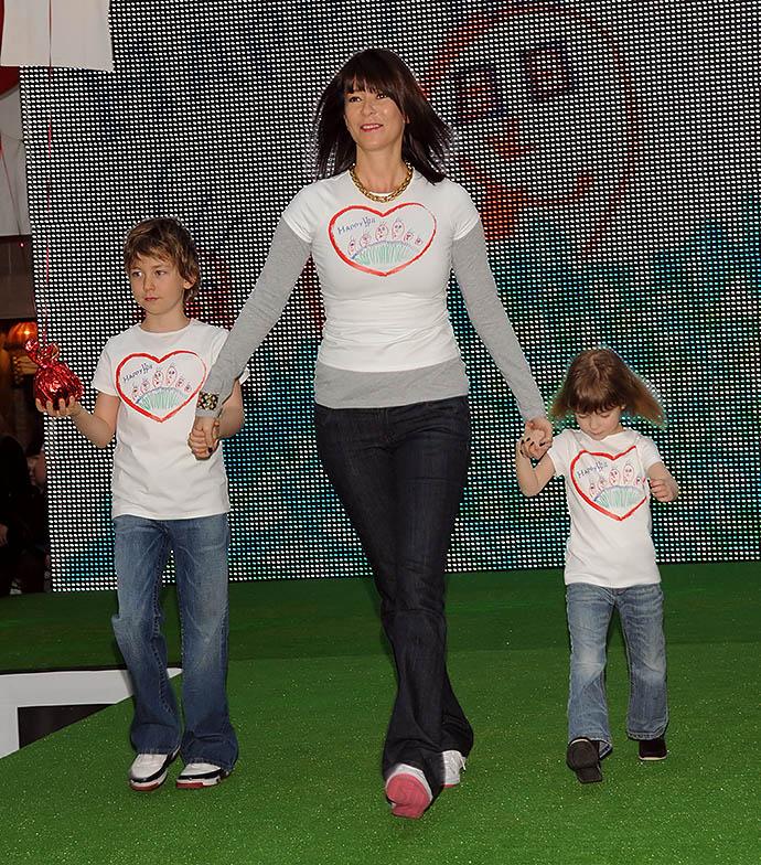 Ольга Слуцкер с сыном Мишей и дочкой Аней