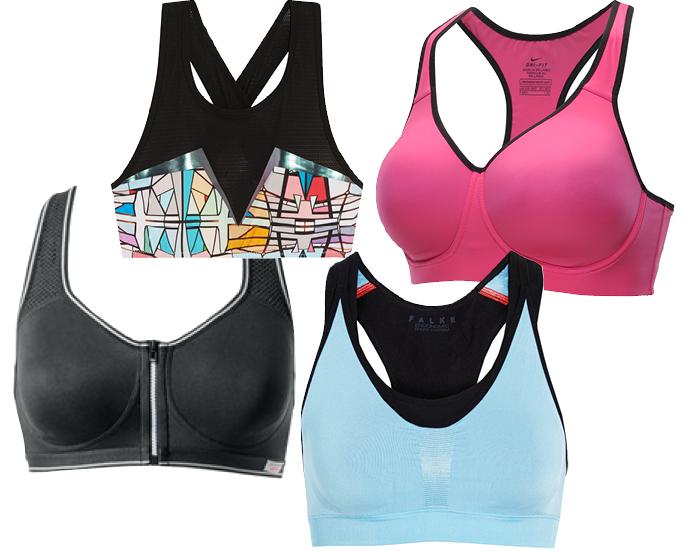 Выбор ELLE: бра-топ с принтом Lucas Hugh, черный бра Intimissimi Activ Sport, розовый бра-топ Nike Pro-Rival, голубой бра-топ Falke Ergonomic Sport System