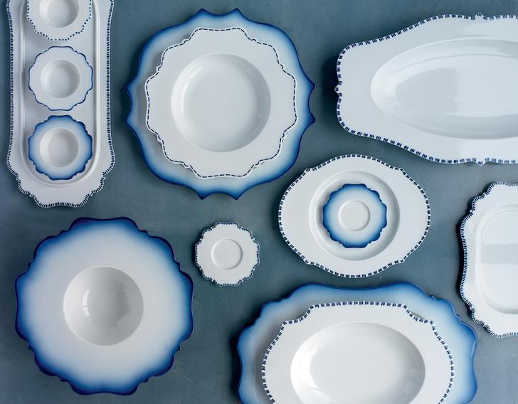 Посуда из коллекции Taste Blue, фарфор, ручная роспись, дизайн Паолы Навоне для Reichenbach