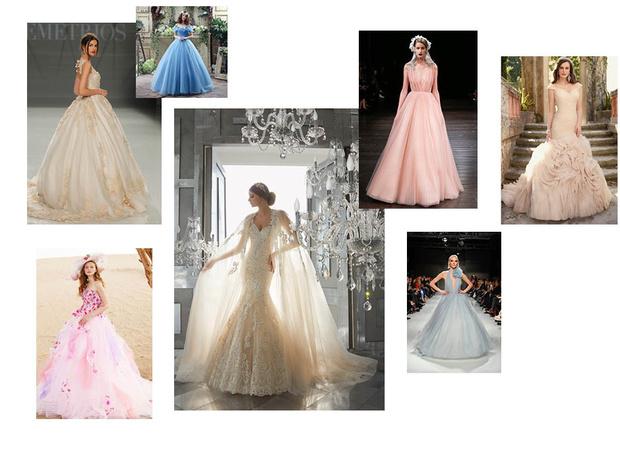 модные цвета свадебных платьев 2018 фото
