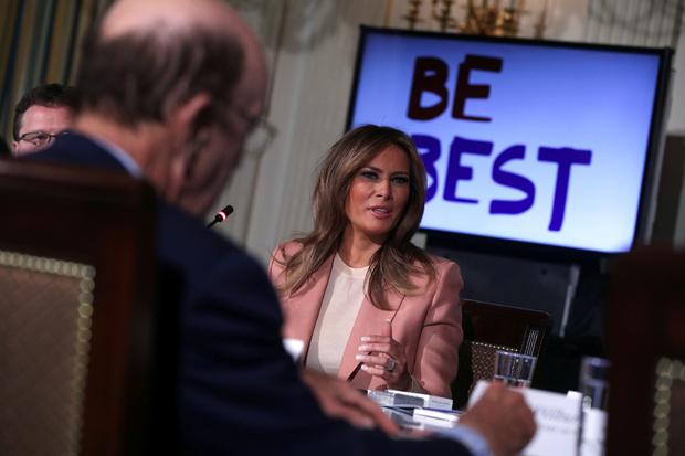 Мелания Трамп в розовом костюме Emilio Pucci на встрече в Белом доме (фото 0)