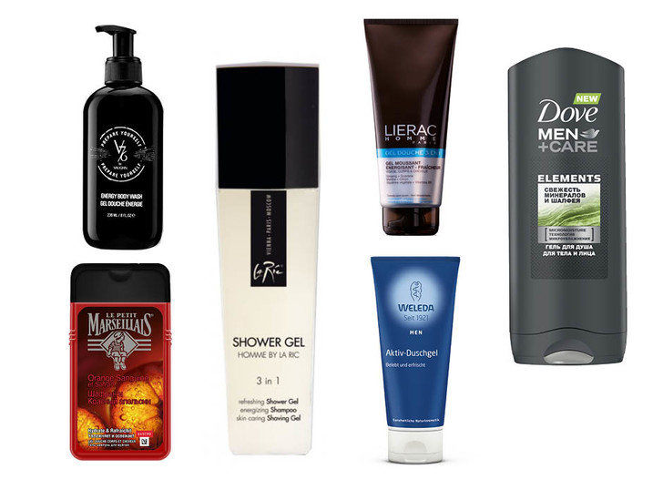 1. Le Petit Marseillais «Шафран и Красный апельсин»; 2. V76 Energy Body Wash; 3. La Ric Shower Gel+Shampoo+Shaving Gel; 4. Lierac Homme Gel Douche 3 в 1; 5. Weleda Aktiv-Duschgel; 6. Dove Men+Care Minerals+Sage