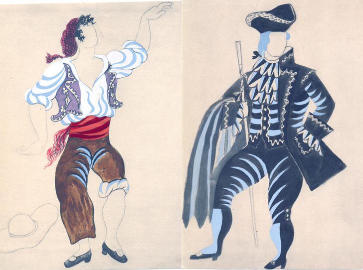 Пошуар. Эскизы костюмов коррехидора и мельника к балету «Треуголка», 1920, Пабло Пикассо