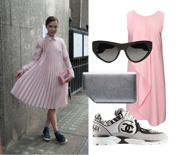Платье, Pinko; очки, Prada; клатч, Bally; кроссовки, Chanel