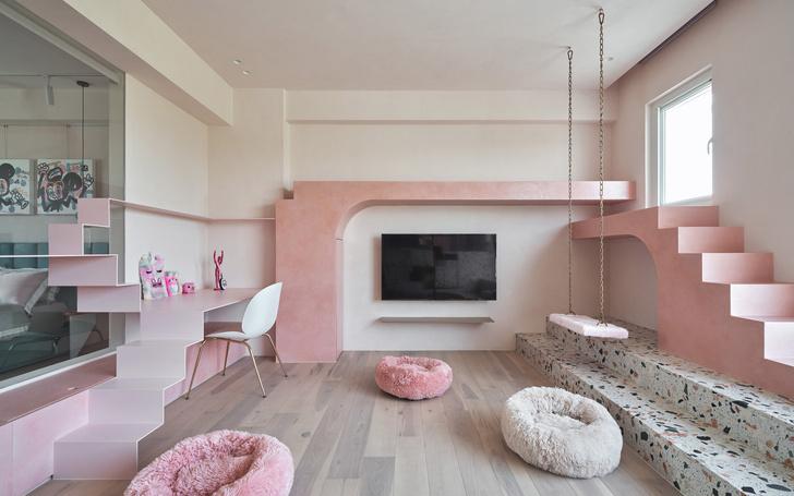 Розовый дом с комнатой для кошек на Тайване (фото 0)