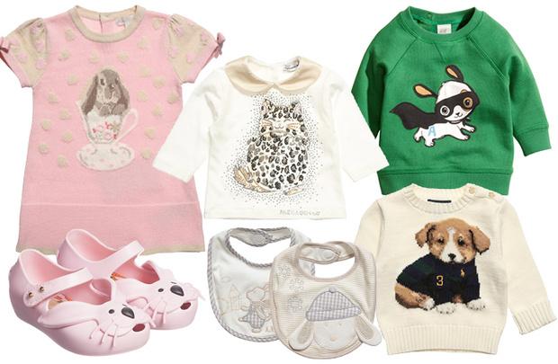 Выбор ELLE: трикотажная футболка и нагрудники Mayoral, ботинки Miss Melissa, джемпер со стразами Paesaggino, зеленый свитшот H&M, свитер Ralph Lauren kids