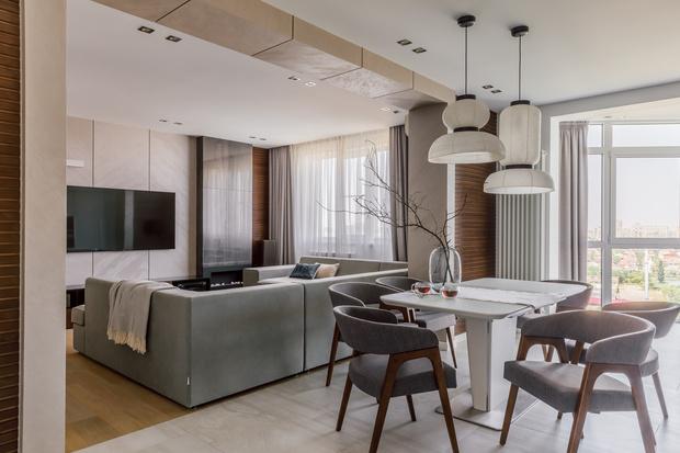 Минималистичная квартира 100 м² в Краснодаре (фото 0)