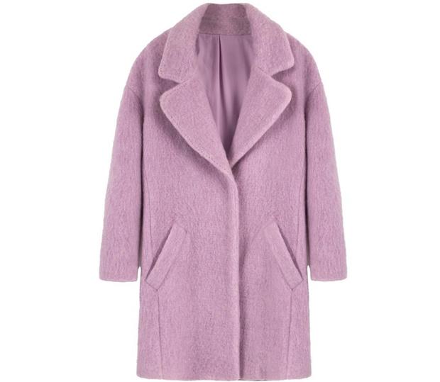Лиловое пальто Bershka