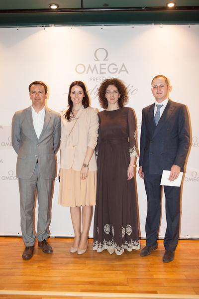 Stefan Peter (Swatch Group), Yulia Tatarskaya (OMEGA), Ksenia Rappoport i Andrey Evdokimov (OMEGA)