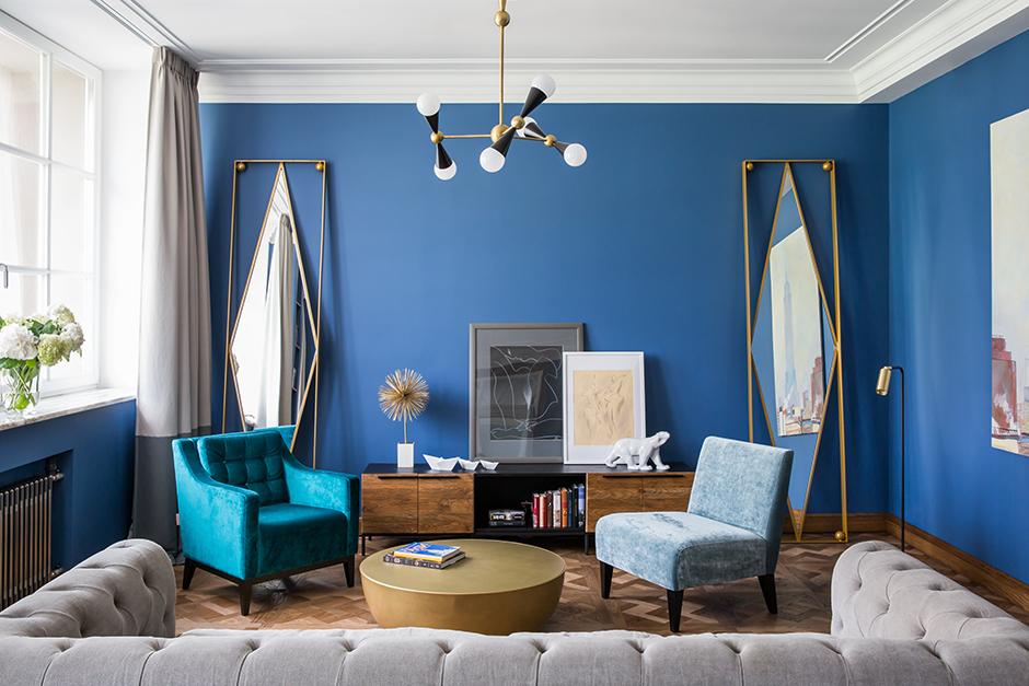 30 интерьеров синего цвета (галерея 0, фото 0)