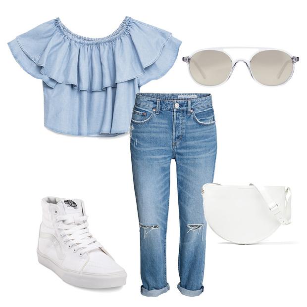 Выбор ELLE: джинсы H&M, кеды Vans, сумка Victoria Beckham, солнцезащитные очки Andy Wolf