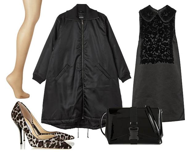 Выбор Elle: платье Dolce&Gabbana, лодочки Jimmy Choo, колготки La Perla, сумка Christopher Kane