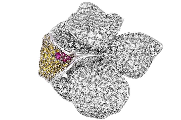 Кольцо Caresse d'orchidées par Cartier, платина, рубины, белые и желтые бриллианты, Cartier, цена по запросу
