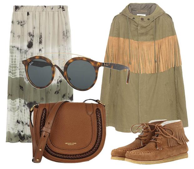 Выбор ELLE: юбка Zara, мокасины Saint Laurent, солнцезащитные очки Ray-Ban, сумка Michael Kors