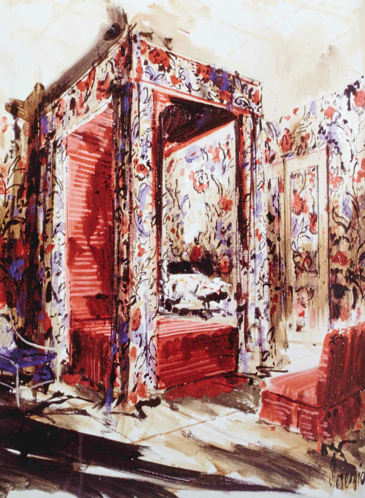 Спальня, оформленная Билли Болдуином, с характерным для него балдахином над кроватью. Рисунок Иеремии Гудмана.