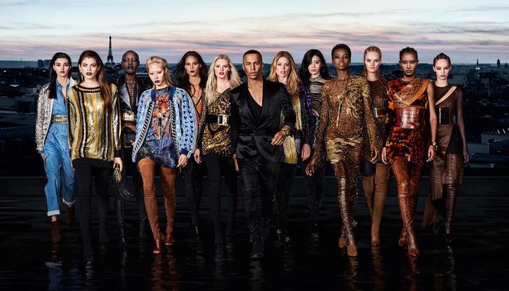 Даутцен Крез и другие модели в рекламной кампании L'Oreal Paris Х Balmain фото [1]