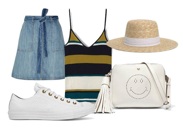 Выбор ELLE: юбка Current/Elliott, кеды Converse, сумка Anya Hindmarch, шляпа Mango