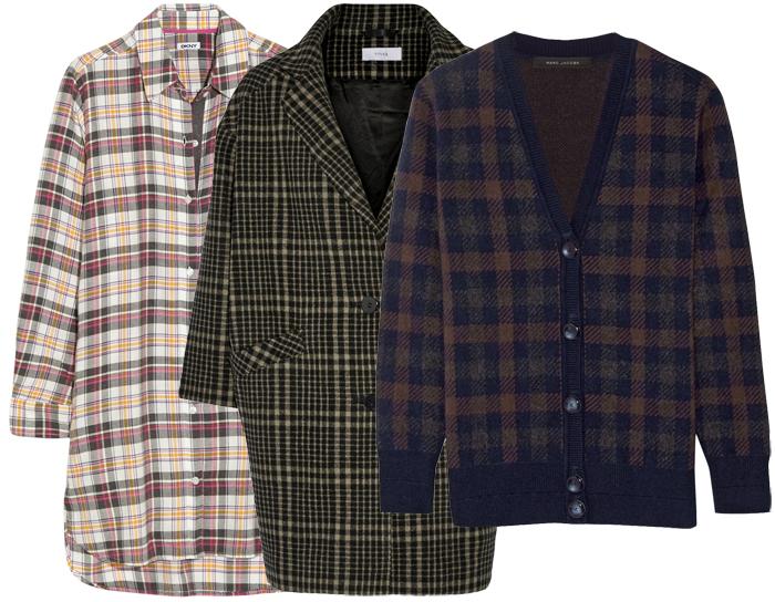 Выбор ELLE: платье-рубашка DKNY, блейзер Title A, кардиган Marc Jacobs