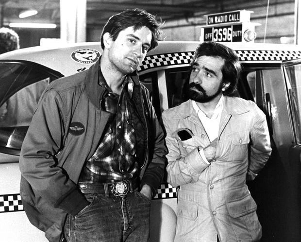 Роберта Де Ниро и Мартин Скорсезе на съемочной площадке фильма «Таксист»
