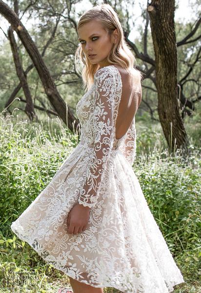 Пышные короткие свадебные платья фото