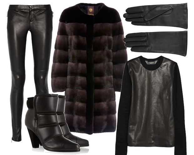 Выбор ELLE: шуба Braschi, кожаные брюки Gucci, кожаный топ Reed Krakoff, перчатки Givenchy, ботильоны Chloe