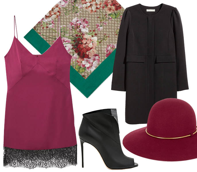 Выбор ELLE : пальто H&M, ботильоны Casadei, платок Gucci, шляпа Lanvin