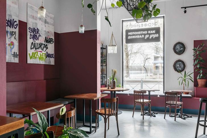 """Матча-бар """"Салют"""" с граффити и винтажными светильниками в Петербурге (фото 0)"""