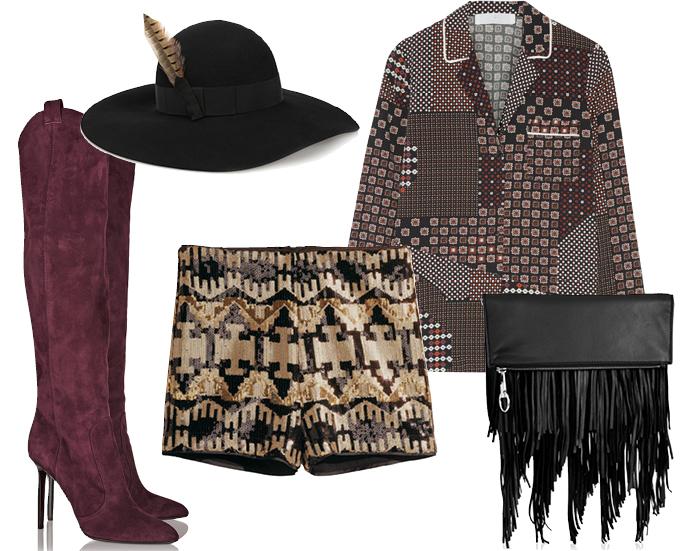 Выбор ELLE: шорты H&M, рубашка Thakoon, шляпа Saint Laurent, сумка Elizabeth and James