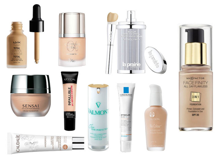 1. Nyx Total Control Drop Foundation; 2. Dior Capture Totale 25 SPF; 3. La Prairie Cellular Swiss Ice Crystal Transforming Cream SPF 30; 4. Max Factor Facefinity; 5. Nu Skin Nu Colour Advanced Liquid Finish; 6. La Roche Posay Innovation Effaclar Duo+; 7. Valmont Just Time Perfection; 8. Caudalie Vinoperfect Radiance Tinted Moisturizer SPF 20; 9. L'Oreal Paris Infaillible Matte 24h; 10. Sensai CP Finish Foundation