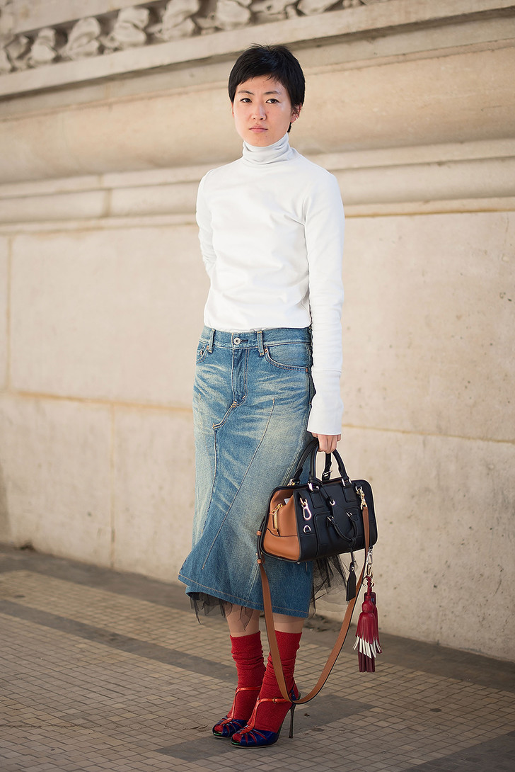 джинсовая миди-юбка