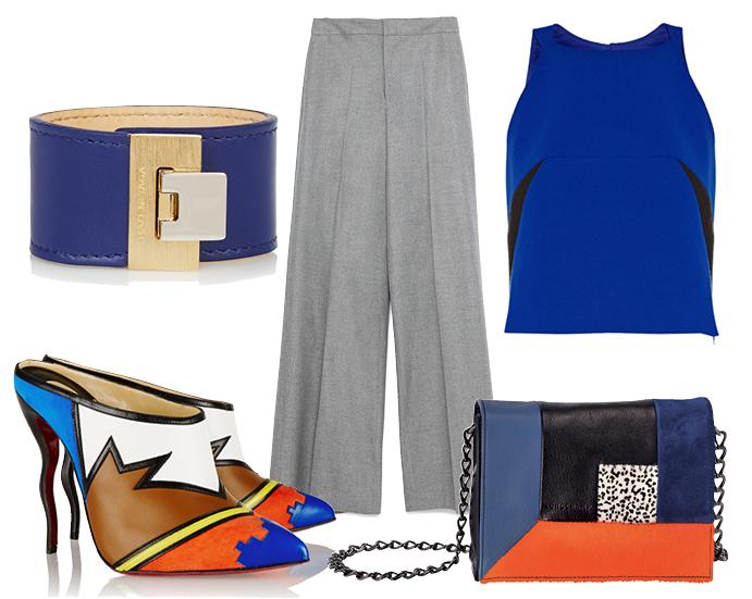 Выбор ELLE: кроп-топ Milly, туфли Christian Louboutin, сумка Longchamp, браслет-кафф Balenciaga