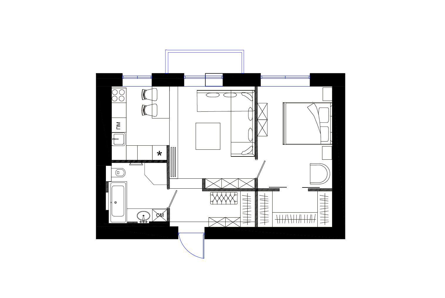 337eab53baf8 Счастье не за горами  квартира 48 м² по проекту Татьяны Страту ...
